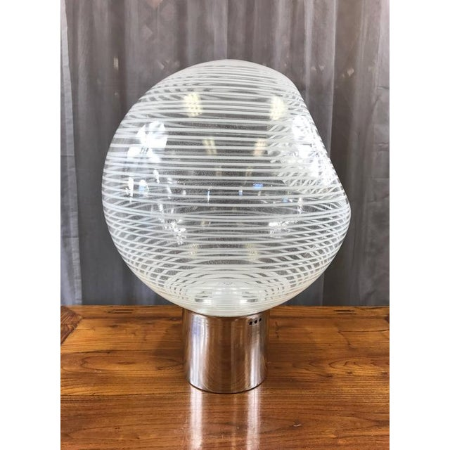 Large and Uncommon Italian Glass Globe Lamp Attributed to Venini - Image 4 of 9