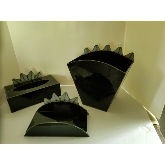 Art Glass French Art Deco Black Glass Waste Basket - Set 3 For Sale - Image 7 of 12