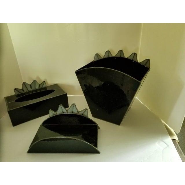 Art Glass French Art Deco Towel Holder Waste Basket - Set 3 For Sale - Image 7 of 12