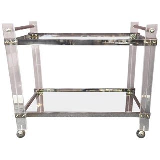 1960s Mid-Century Modern Lucite Chrome and Mirrored Bar Cart For Sale