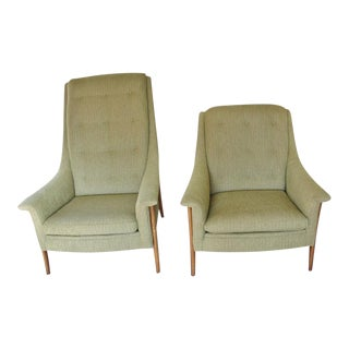 Vintage Mid Century His and Hers Kagan Style Chairs- A Pair For Sale