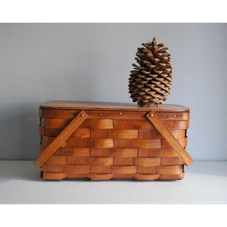 Vintage Woven Splint Wood Picnic Basket Preview