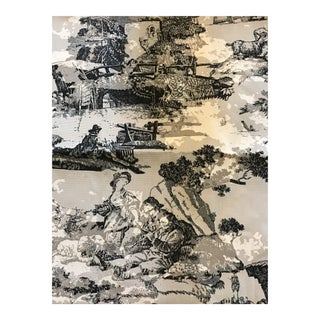 Toile Black Gray White Printed Fabric - 2.66 Yards For Sale