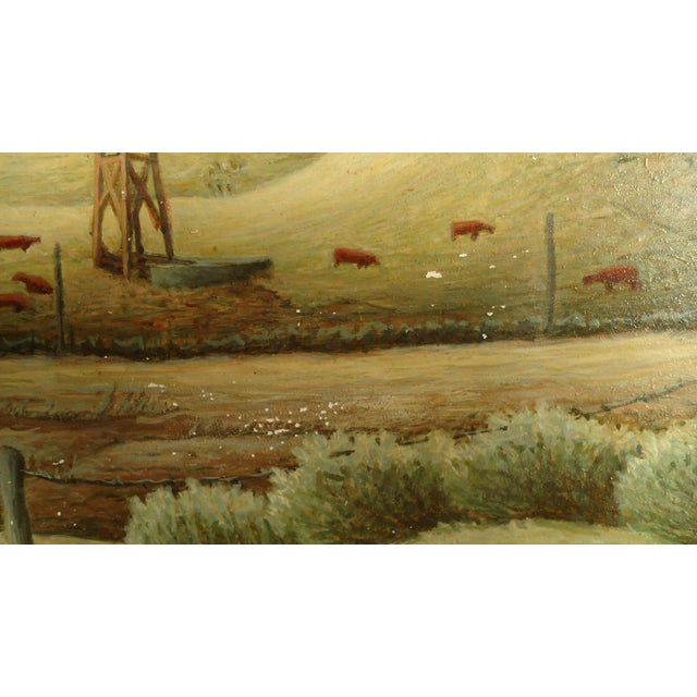 1952 Aaron Pyle Landscape With Horses Regionalist Painting For Sale - Image 6 of 11
