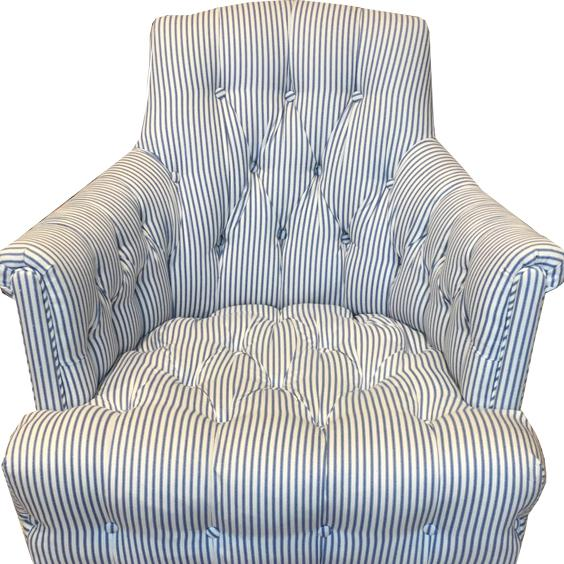 Ticking Tufted Striped Blue U0026 White Chairs   A Pair   Image 2 ...