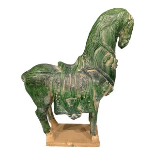 Vintage Green Horse Pottery Sculpture For Sale