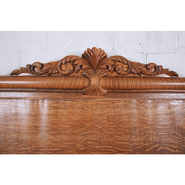Antique Carved Tiger Oak Full Size Bed, Circa 1900 For Sale - Image 4 of 8