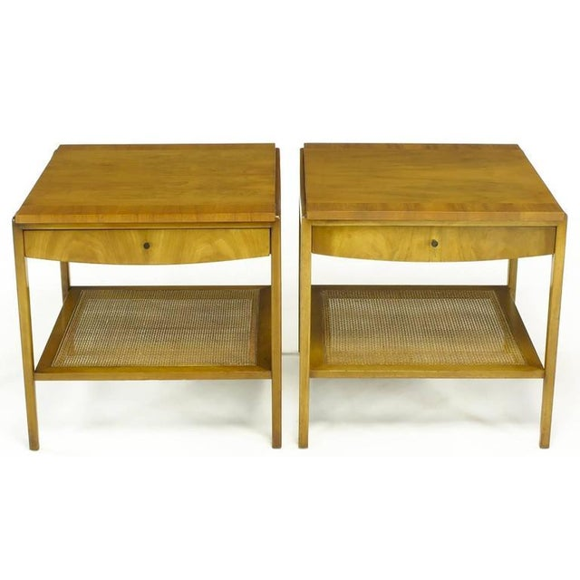 Pair Widdicomb Bleached Walnut & Cane Single Drawer End Tables - Image 2 of 10