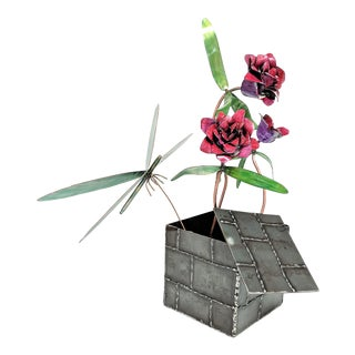 Metal Box of Flowers & Dragonfly Sculpture