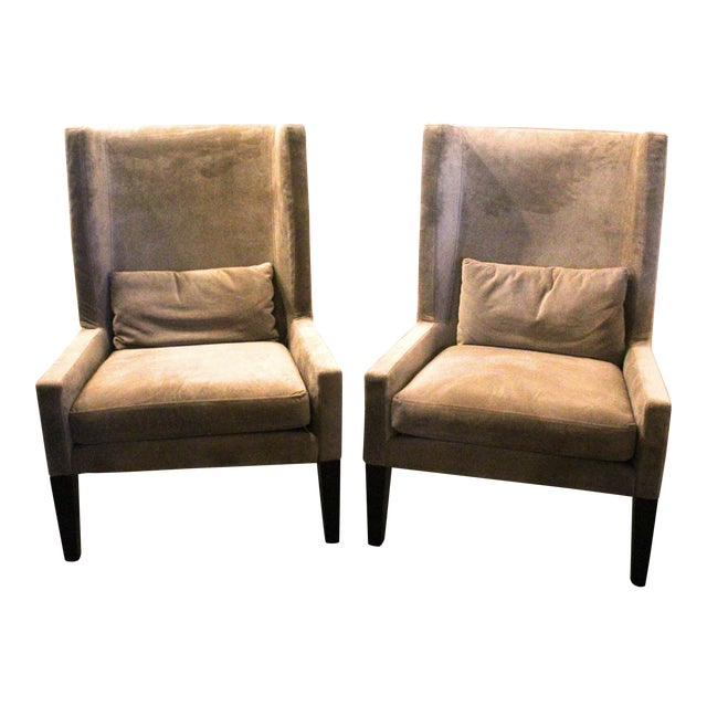 Vintage Mid Century Plush Contemporary Wing Chairs- A Pair For Sale