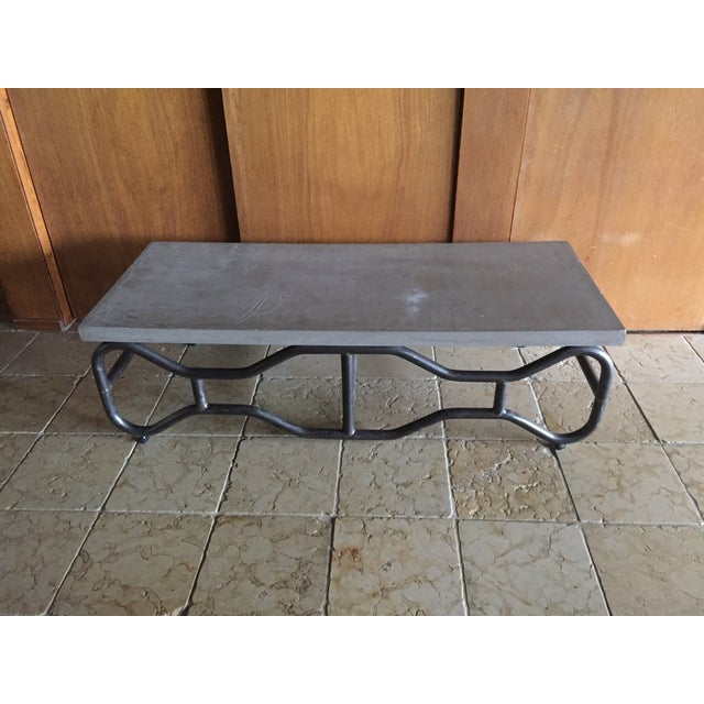 Industrial Modern Concrete and Metal Coffee Table - Image 2 of 5