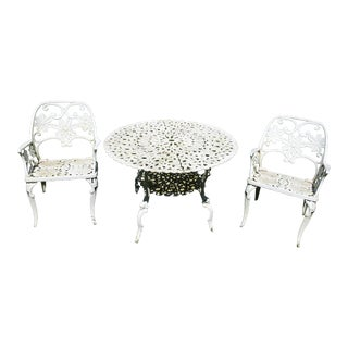 1950's Floral Ornate Patio Furniture-Set of 3 For Sale