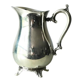 19th Century Early American William Rogers Hallmarked Silver Plate Pitcher For Sale