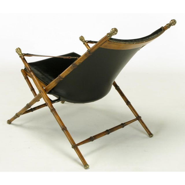 Italian Campaign Chair In Black Leather - Image 5 of 10