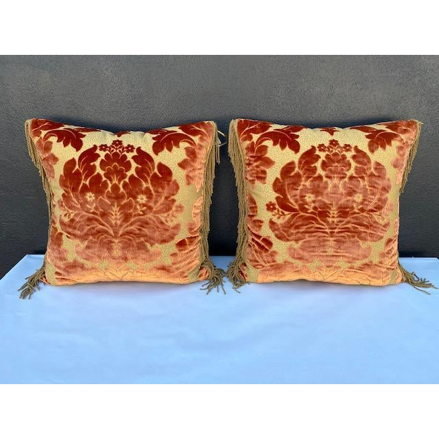 Burnt Orange Luigi Bevilacqua Silk Velvet Pillows - A Pair For Sale - Image 8 of 8
