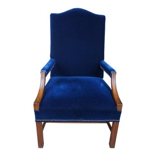Traditional Mahogany Blue Mohair Arm Chair For Sale