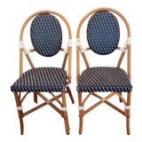 Image of 1990s Vintage French Rattan Bistro Chairs - a Pair For Sale