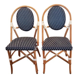 1990s Vintage French Rattan Bistro Chairs - a Pair For Sale