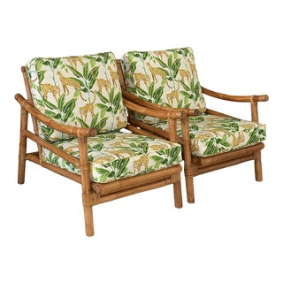Vintage Coastal Tropical Rattan Newly Upholstered Outdoor Chairs-Pair For Sale