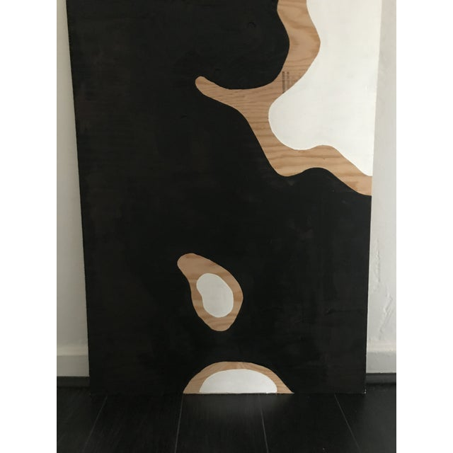 Abstract Camo Black and White Abstract Painting on Plywood For Sale - Image 3 of 5