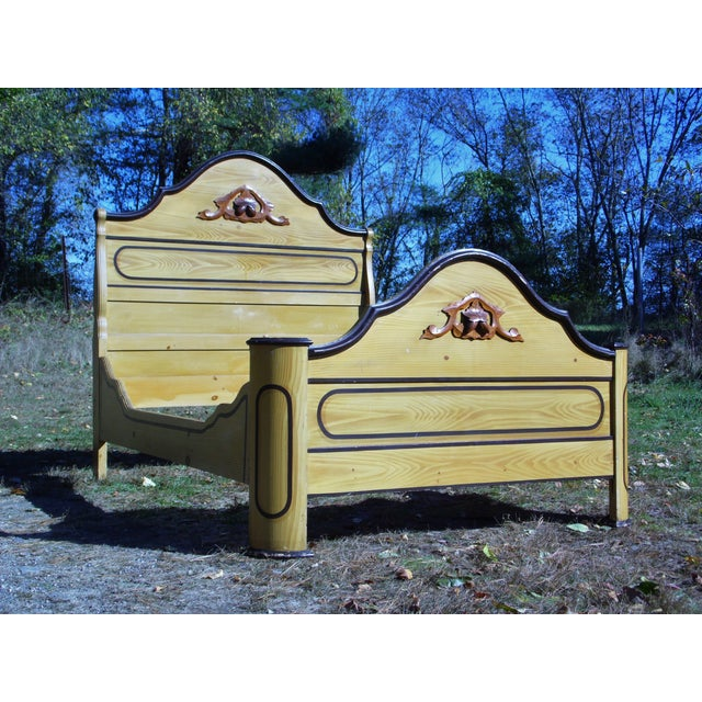 Late 19th Century Antique Victorian Cottage Painted Double Full Size Bed American Country Folk Art For Sale - Image 5 of 11