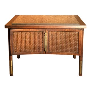 Mid-Century Modern Side Table With Cabinet For Sale