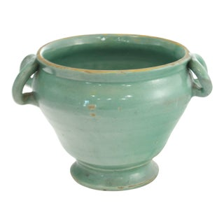 Italian Green Hand-Thrown Pottery Urn For Sale