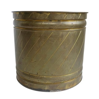 Vintage Large Swirled Brass Planter For Sale