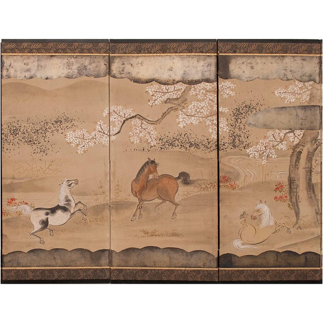 Mid 19th Century 19th Century Late Edo Era Gold Leaf Japanese Byobu Screens- a Pair For Sale - Image 5 of 13