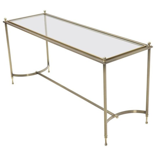 Midcentury Two-Tone Metal Brass and Steel Arch Stretcher Console Sofa Table For Sale - Image 12 of 12