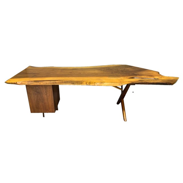 Mid-Century Modern George Nakashima Large Conoid Writing Desk For Sale - Image 3 of 13