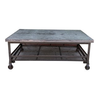 Industrial Rectangular Coffee Table For Sale
