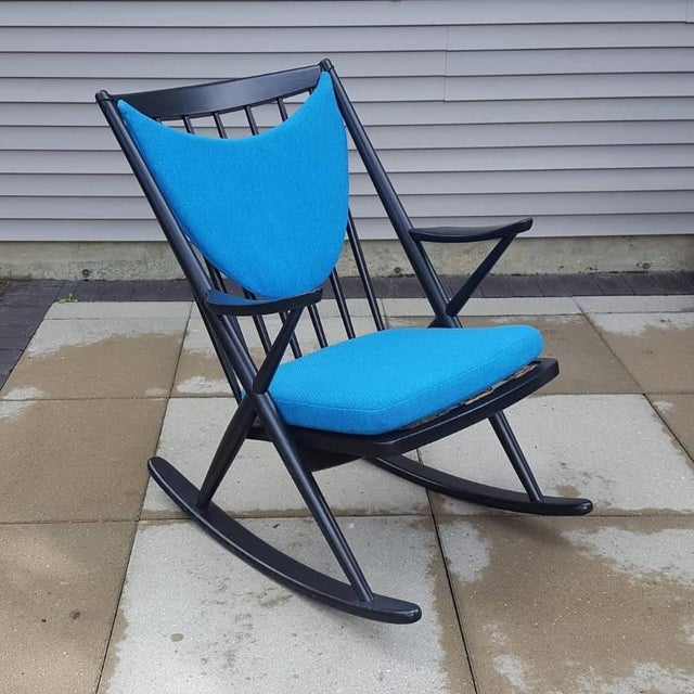 Blue 1960s Vintage Frank Reenskaug Danish Modern Bramin Rocking Chair For Sale - Image 8 of 8