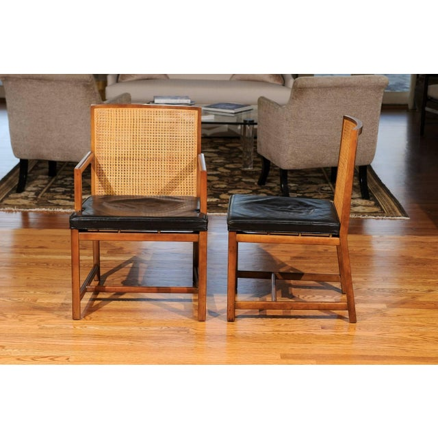 Rare Surviving Set of Six Coveted Cane Dining Chairs by Michael Taylor for Baker For Sale - Image 10 of 11