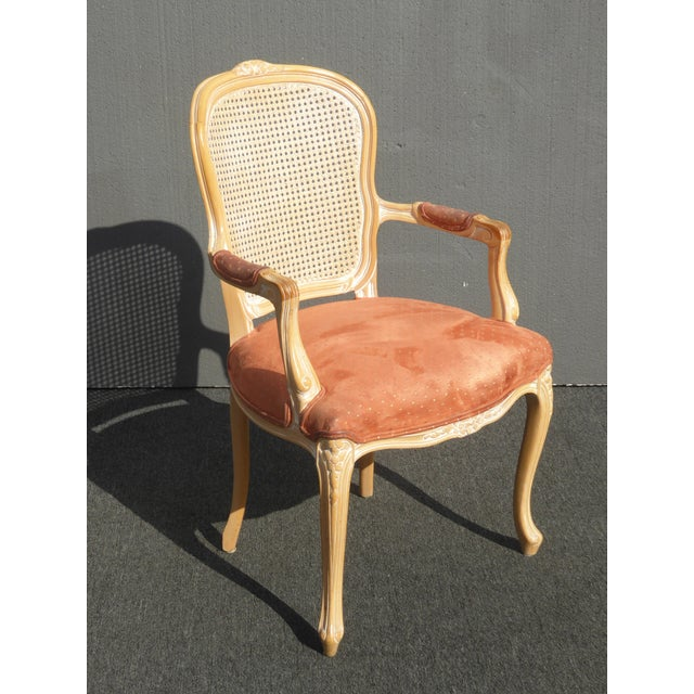 French Provincial Vintage French Provincial Cane Back Off White Accent Chair W Peach Fabric For Sale - Image 3 of 11