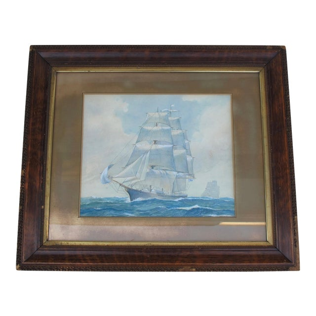 Framed Ship Watercolor Painting For Sale