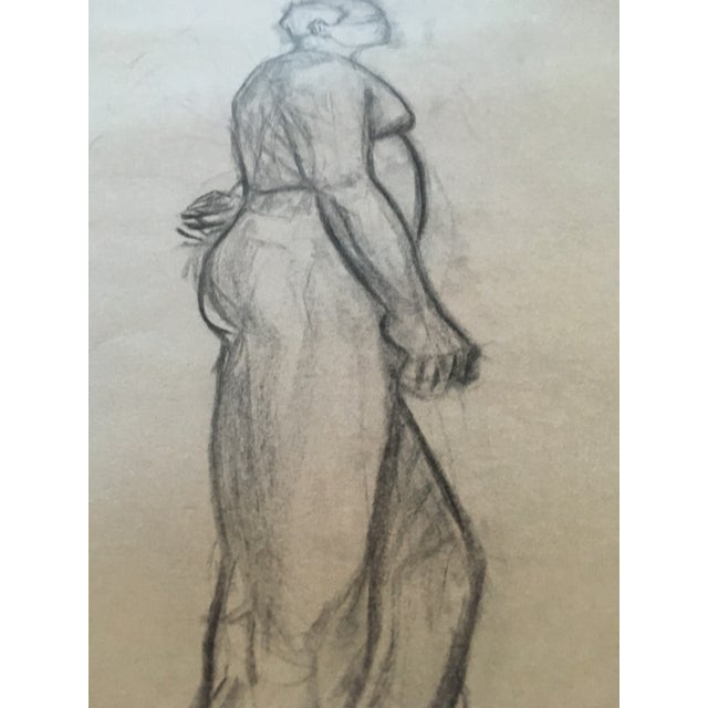 Realism Vintage Large Mid-Century / Realism Nude Anatomy Figure Drawing For Sale - Image 3 of 6