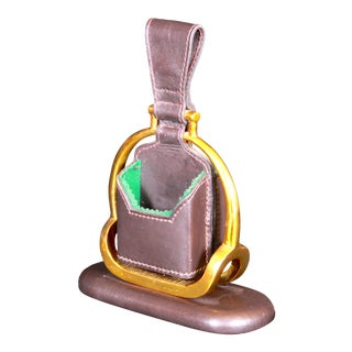 Jacques Adnet for Hermes Leather and Brass Stirrup Game Card or Card Holder For Sale