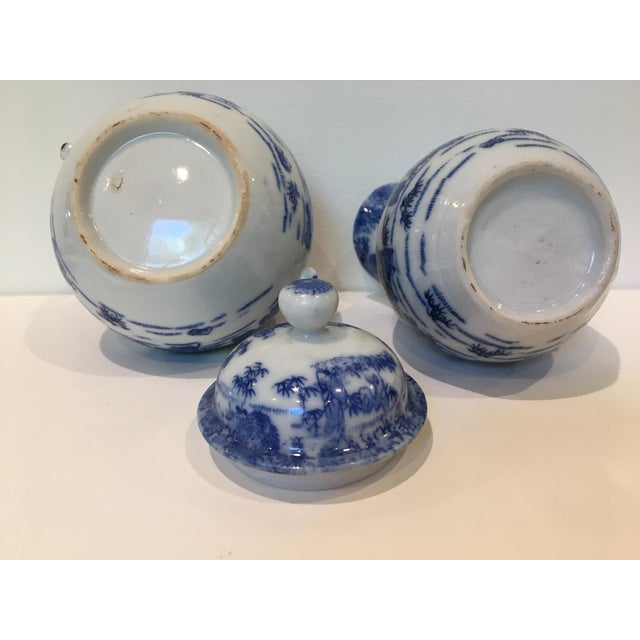 Late 19th Century Vintage Chinoiserie Blue and White Creamer and Lidded Sugar Bowl - Set of 2 For Sale - Image 5 of 8