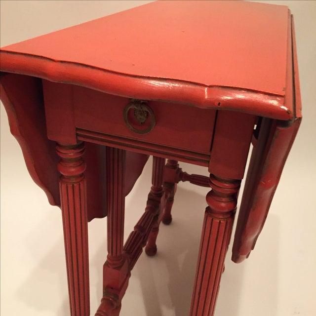 Vintage Orange Drop Leaf Table - Image 11 of 11