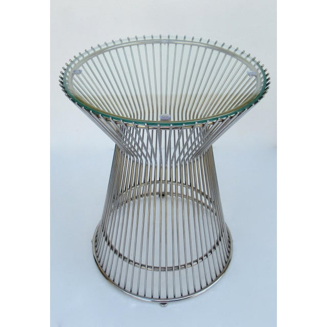 Warren Platner Warren Platner-Style Polished Steel and Glass Round Accent, Side Table For Sale - Image 4 of 13