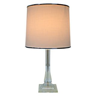Small Lucite Lamp With Drum Shade.