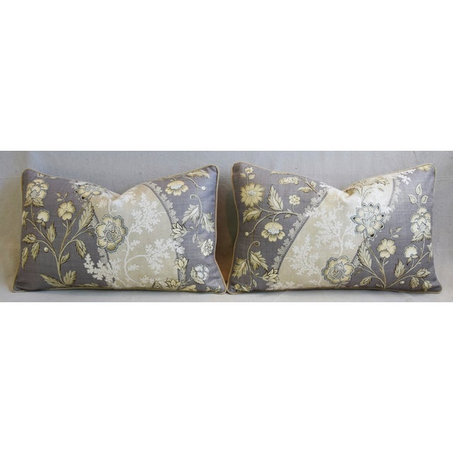 "Cotton Floral Linen & Velvet Feather/Down Pillows 26"" X 16"" - Pair For Sale - Image 7 of 12"