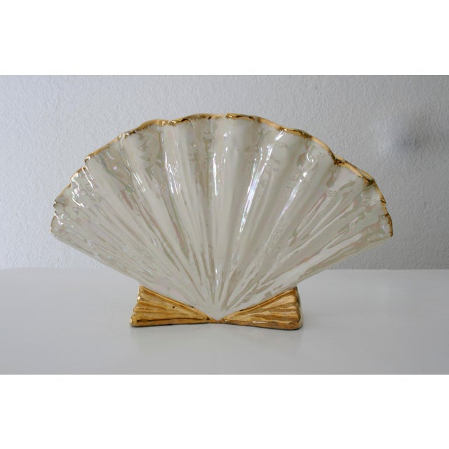 White Pearlescent Ivory and Gold Shell Shaped Vase For Sale - Image 8 of 8