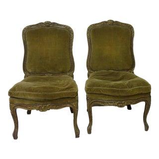 19th Century Velvet Upholstered Chaises- a Pair For Sale