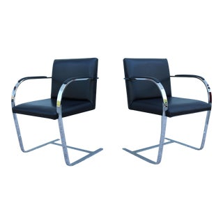 1980s Mies Van Der Rohe for Gordon Black Leather Bar Chairs - a Pair For Sale