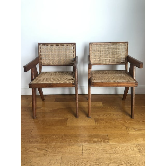 Mid-Century Modern Pierre Jeanneret Caned Armchairs - a Pair For Sale - Image 3 of 11