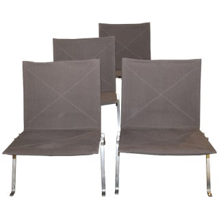 Poul Kjaerholm Pk22 Anthracite Grey Chairs by Fritz Hansen, 2004 - Set of 4 For Sale