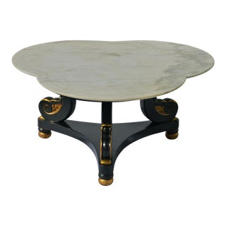Hollywood Regency Coffee Table With Clover Shaped Carrara Marble Top For Sale
