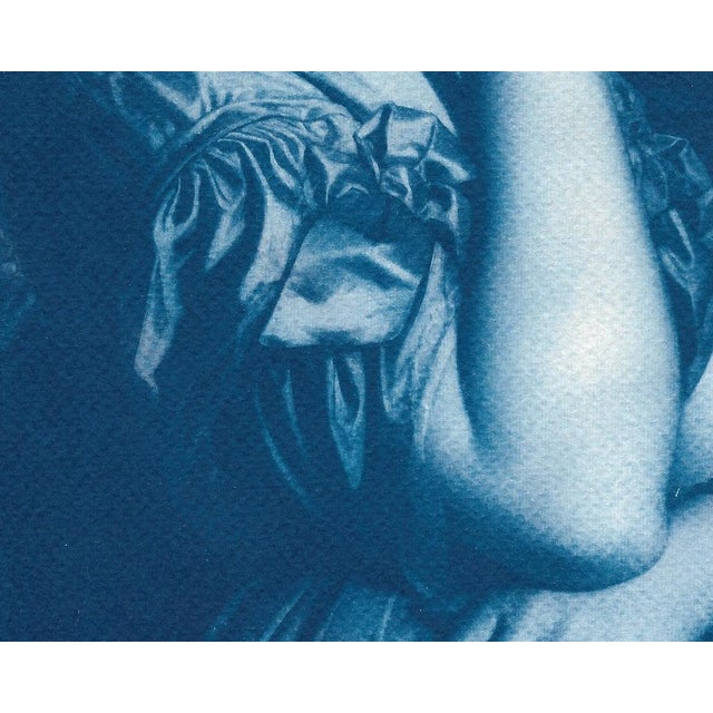 Baroque Ingres, Portrait of a Young Girl, Handmade Cyanotype on Watercolor Paper, Limited Serie, A4 For Sale - Image 3 of 7